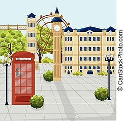 Red Phone booth in London Vector. Architecture facades on background. City attractions buildings