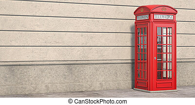 Red phone booth on brick wall background. London, british and english symbol. Space for text.