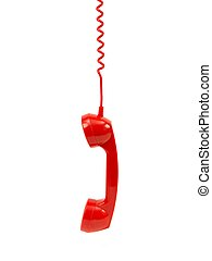 Red Phone Handset - A rotary telephone hand set isolated...