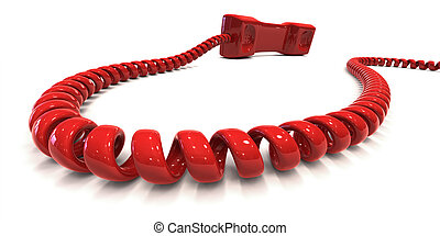 Red telephone with coiled cord isolated over white, symbolizing hotline. Clipping path included to easily change color of phone and/or background.