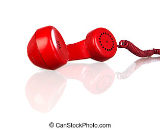 Red phone isolated on a white background