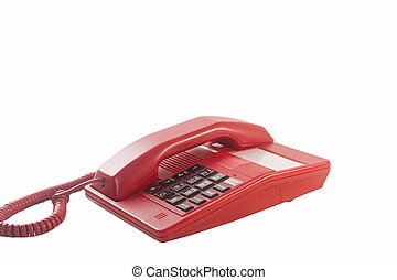 Red phone isolated on white