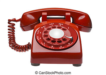 Red phone, isolated - Red angled 60s rotary dial phone...