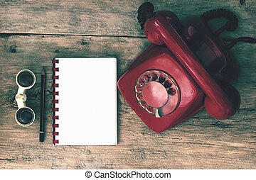 Red Phone on Table