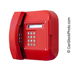 Red phone on white background.