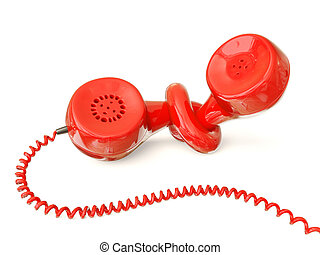 red phone  - red  phone receiver isolated on white