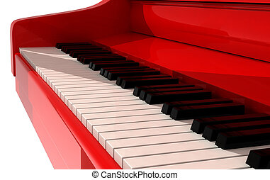 Red piano in white room
