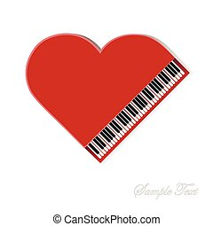 Red piano on white background
