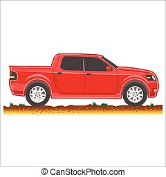 red pickup suv car off-road 4x4 icon colored