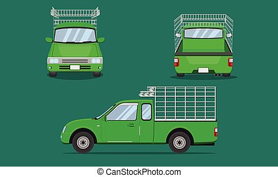 red pickup truck cab with car steel grating front side back view transport vector illustration eps10