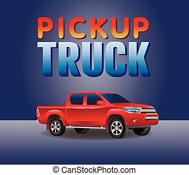 red Pickup truck car 4X4 realistic vector illustration