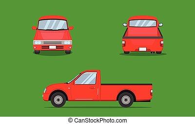 red pickup truck car front side back view transport vector illustration eps10