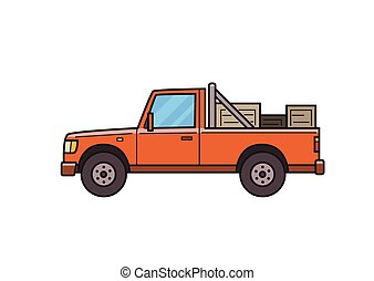 Red pickup truck with boxes in the trunk. Delivery car, side view. Isolated image on white background. Vector illustration. Flat style.