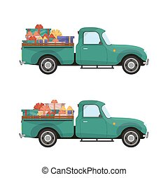 Red pickup. Vintage pickup truck with a Christmas tree and gifts in the trunk. Retro Christmas car.