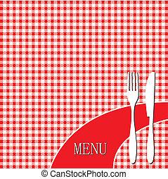 Red picnic cloth - menu card design