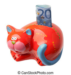 Red piggy bank in the form of a cat with an inserted...