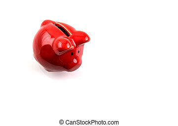 Red Piggy bank isolated on white background