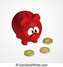 piggy bank with yuan coins over bright background - red...