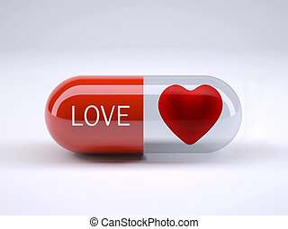 red pill with written love and heart inside