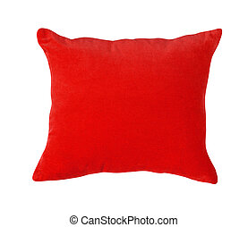 red pillow isolated on white