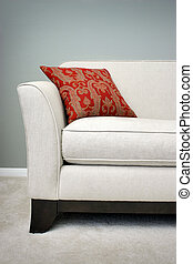 Red Pillow on a Sofa