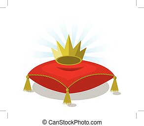 red pillow with golden crown