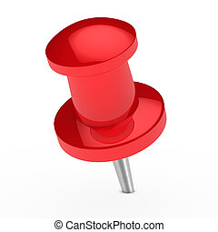red pin - glossy red notepaper pin on white background
