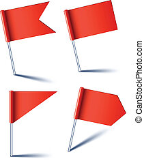 Red pin flags. - Vector illustration of red pin flags.