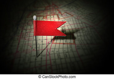 red pin map