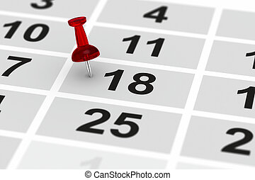 red pin marking important day on calendar. 3D illustration
