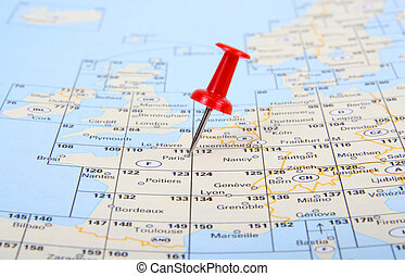 Red pin show the location of a destination point on a map, little focus