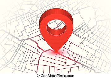 Red pin showing location on gps navigator map. Vector illustration