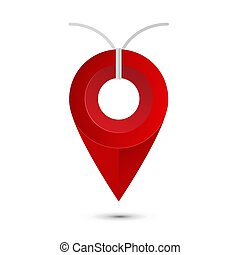 Red Pin with String. Vector Location Pointer with Rope Isolated on White Background. Marker Icon.