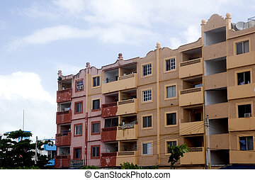 Red Pink and Orange Apartments - Colorful and rustic old...
