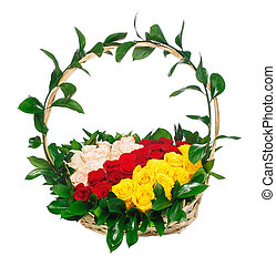 Red, pink and yellow roses in basket