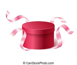 Red pink closed 3d realistic round gift box with flying off ribbons and place for your text, realistic box vector illustration.