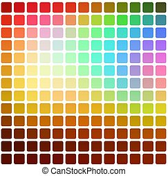 Red pink green blue brown rounded mosaic background over white square