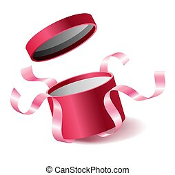Red pink opened 3d realistic round gift box with flying off cover and ribbons and place for your text, realistic box vector illustration.