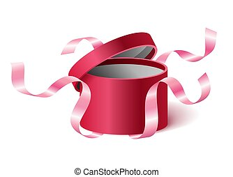 Red pink opened 3d realistic round gift box with flying off ribbons and place for your text, realistic box vector illustration.