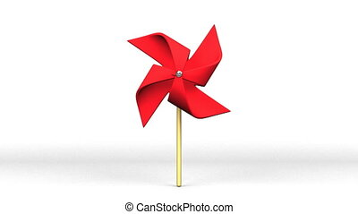 Red Pinwheel On White Background.