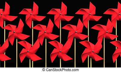 Red Pinwheels On Black Background.