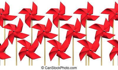 Red Pinwheels On White Background.