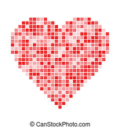 Red pixel Heart, vector illustration