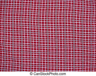 Red Plaid Background - background of plaid fabric with thin...