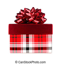 Red plaid pattern Christmas gift box with red bow isolated on white