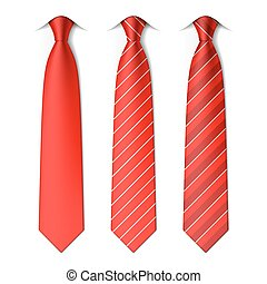 Red plain and striped ties - Three red ties illustration
