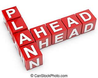Plan Ahead - red Plan Ahead cubes over white background