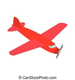 Red plane icon, isometric 3d style