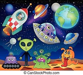 Red planet fantasy theme 1 - eps10 vector illustration.