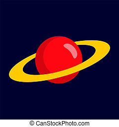Red planet icon, flat style